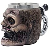 zombie head - Evil Undead Zombie Head Beer Mug, Stein, Beverage Tankard or Coffee Cup with Stainless Steel Insert for Spooky Graveyard Halloween Party Decorations and Gothic Bar Decor Gifts for Men