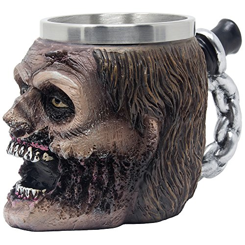 Evil Undead Zombie Head Beer Mug, Stein, Beverage Tankard or Coffee Cup with Stainless Steel Insert for Spooky Graveyard Halloween Party Decorations and Gothic Bar Decor Gifts for Men