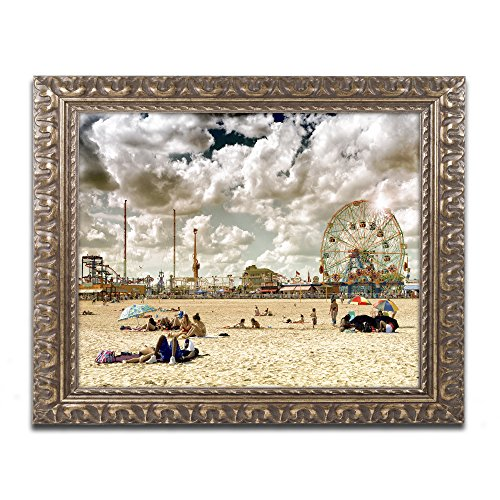 Coney Island Beach by Philippe Hugonnard, Gold Ornate Frame 11x14-Inch