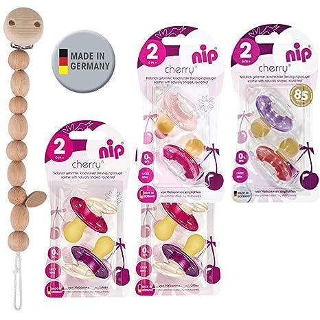 Nip Cherry redondo Aspiradora Chupete 8 unidades Girl Set//Talla 2//6 + meses//Crema & Rosa + Morado & Rojo