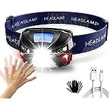 YOMYM Linterna Frontal USB Recargable, 8 Modos Linterna LED Cabeza Impermeable, 6000K 300LM 1200mAh Conmutación de…
