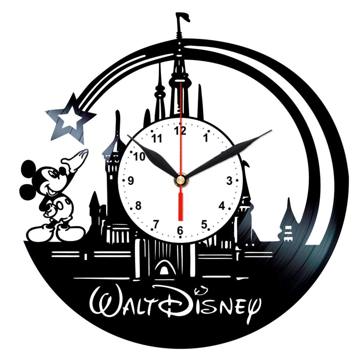 Walt Disney World Vinyl Clock - Mickey Mouse Themed Gifts Girls - Vintage Record Wall Decor Queen Clocks 0086WR2-W