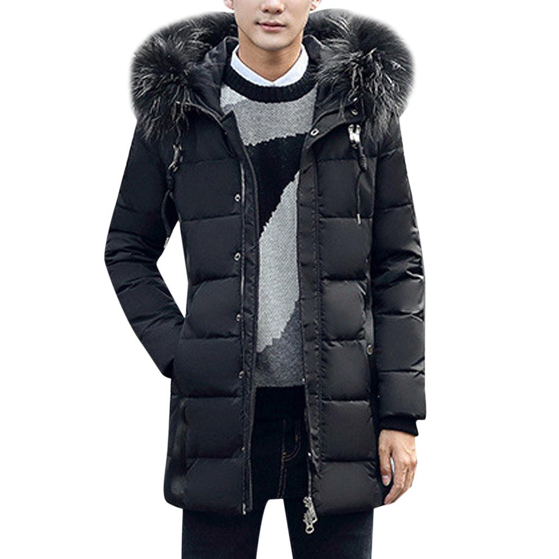 MNBS Men's Faux faux fur Trim Hood Windproof Outdoor Padded Winter Coat Jacket