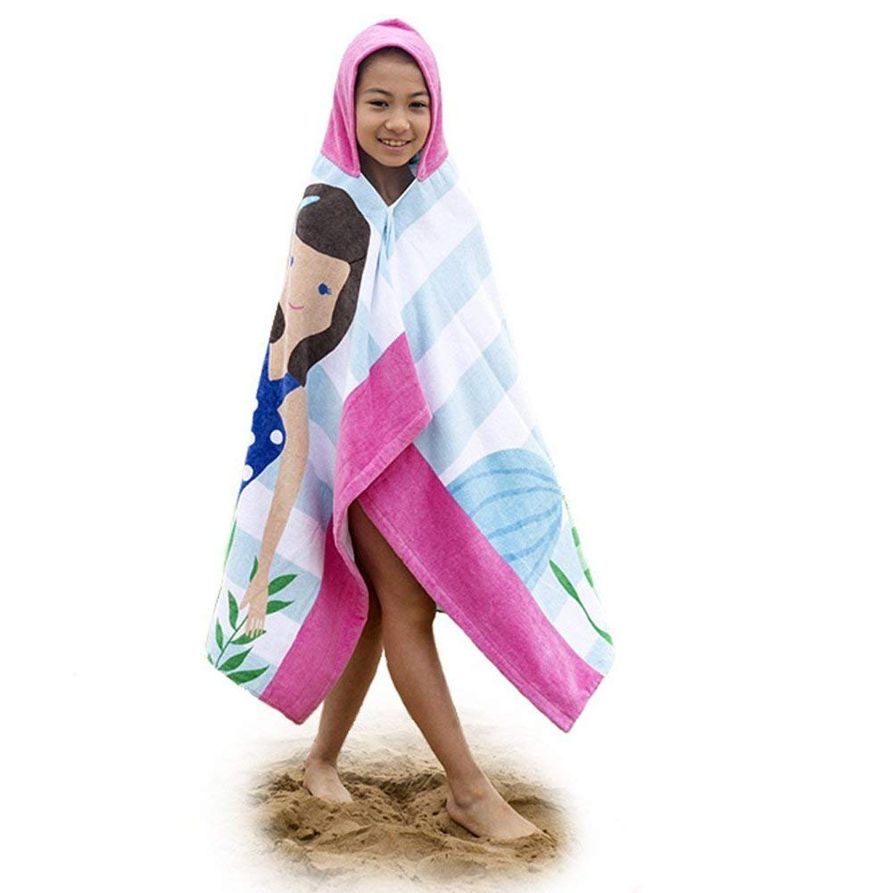 Mangadua 100% Cotton Kids Hooded Bath Towel Cartoon Poncho Animal Bathrobe Beach Blanket (Brown Mermaid)