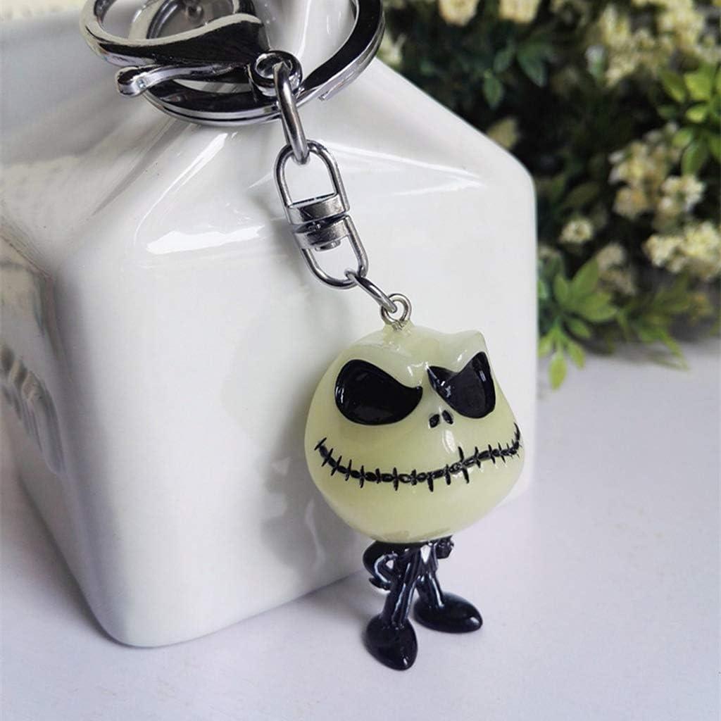 YiFeiCT Creative Halloween Lumineux T/ête de Mort Dessin anim/é Porte-cl/és Cool Porte-cl/és Sac /à Dos de Voiture Ghost Pendentif D/écor