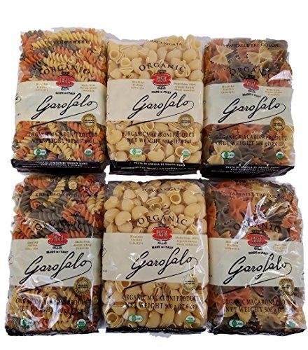 Garofalo 100% Organic Variety 6 Pack, 2 - 1.1 lb. Farfalle Tri-Color, 2 - 1.1 lb. Tri-Color Fusilli, 2 - 1.1 lb. Lumaca Rigata