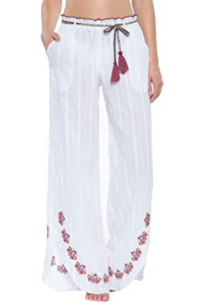 6900b52fec Becca by Rebecca Virtue Women s Embroidered Cover Pants Swim Cover Up White  S