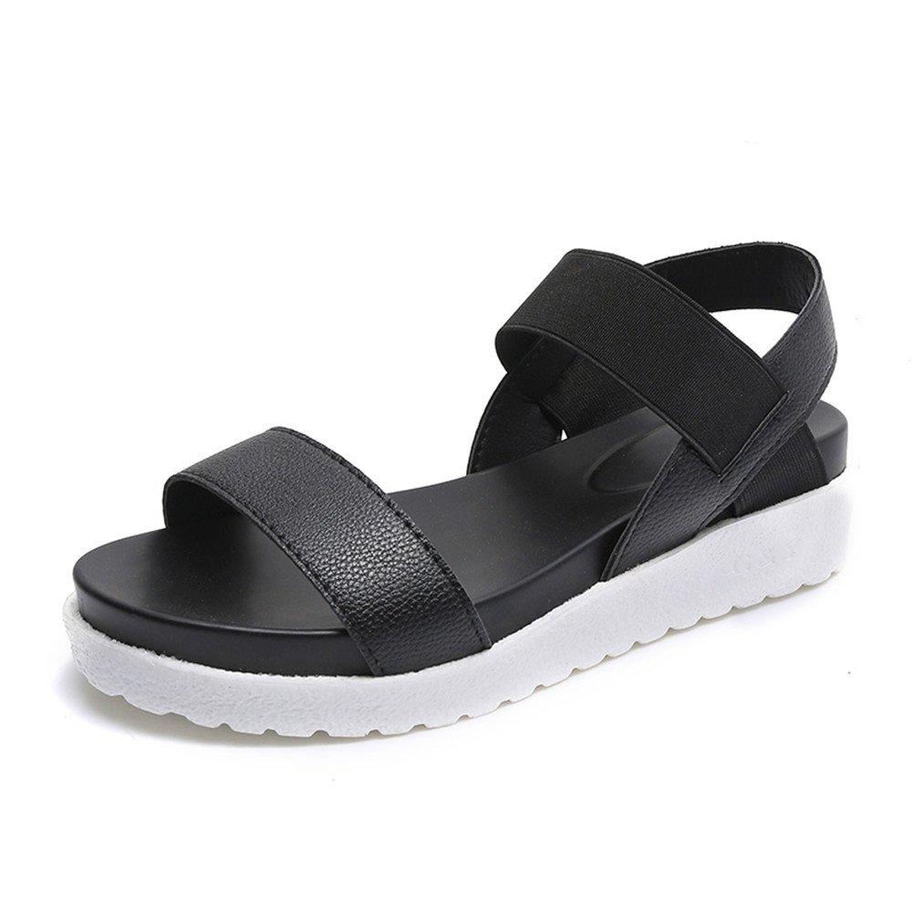 Sandales Femme Blanche Plateforme Cuir Été Peep Plage Toe Plage Noir Chaussures Plates 4cm Noir Blanche Argent 35-40 Noir bd6c739 - fast-weightloss-diet.space