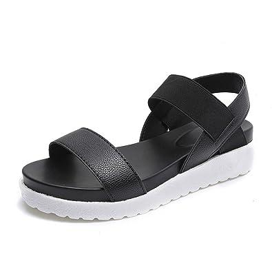 28d253162e20a2 Vinstoken Sandalen Damen Lässig Slingback Leder Peep Toe Flach Sommer  Metall Schuhe 4cm Schwarz Weiß Silber