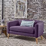 Cheap Bron Yr AUR Button Back Mid Century Fabric Modern Loveseat (Muted Purple)