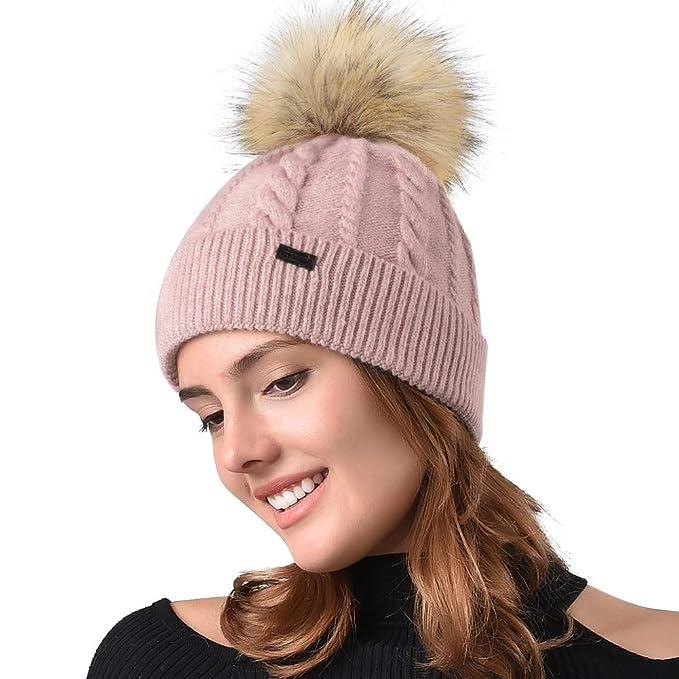 FURTALK Women Winter Pom Knit Hat Cashmere Beanie Caps with Faux Fur ... 4aa8db16159