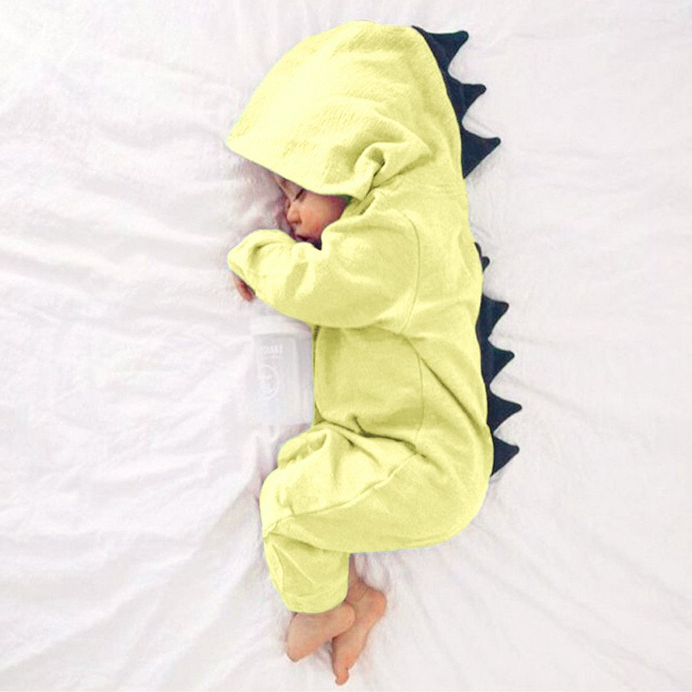 KaiCran Baby Layette Set Infant Baby Boy Girl Dinosaur Hooded Romper Jumpsuit Outfits Clothes