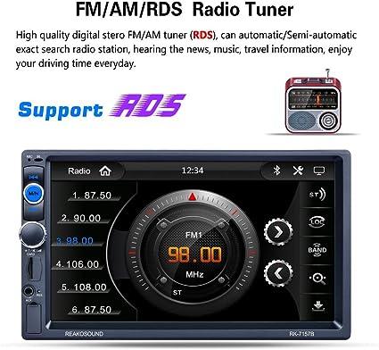 BEESCLOVER Reproductor de MP3 7 Pulgadas 2DIN Radio de Coche MP5 Reproductor Bluetooth Media Player Funci/ón Mando a Distancia C/ámara de Visi/ón Trasera FM//Am//RDS Radio Sintonizador RK-7157B