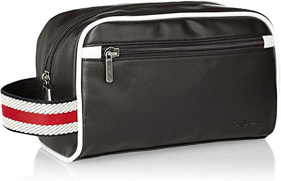 Ben Sherman Mens Regents Park Smooth Pvc Single Compartment Top Zip Travel Kit