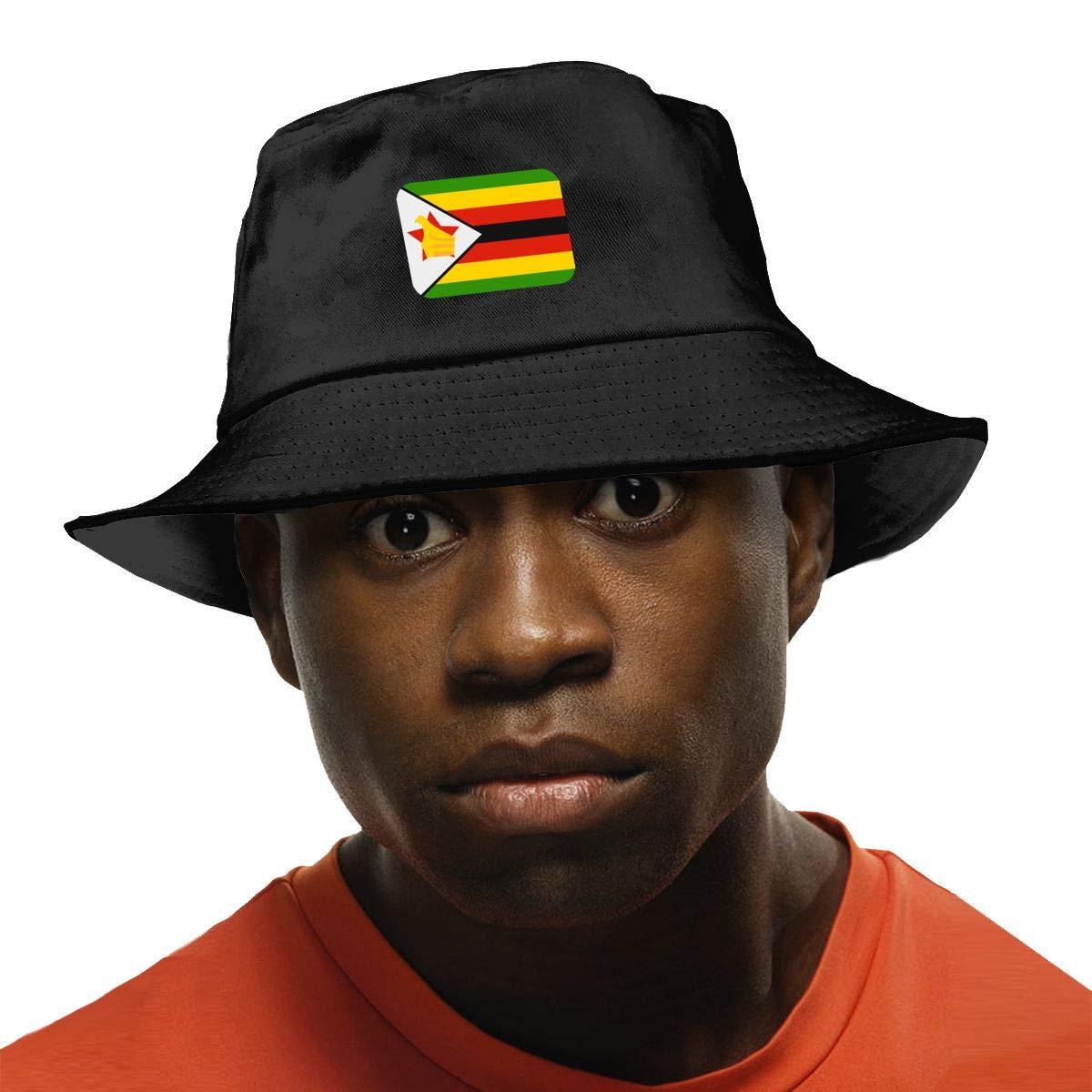 NDFGR Zimbabwe Unisex Cotton Packable Black Travel Bucket Hat Fishing Cap