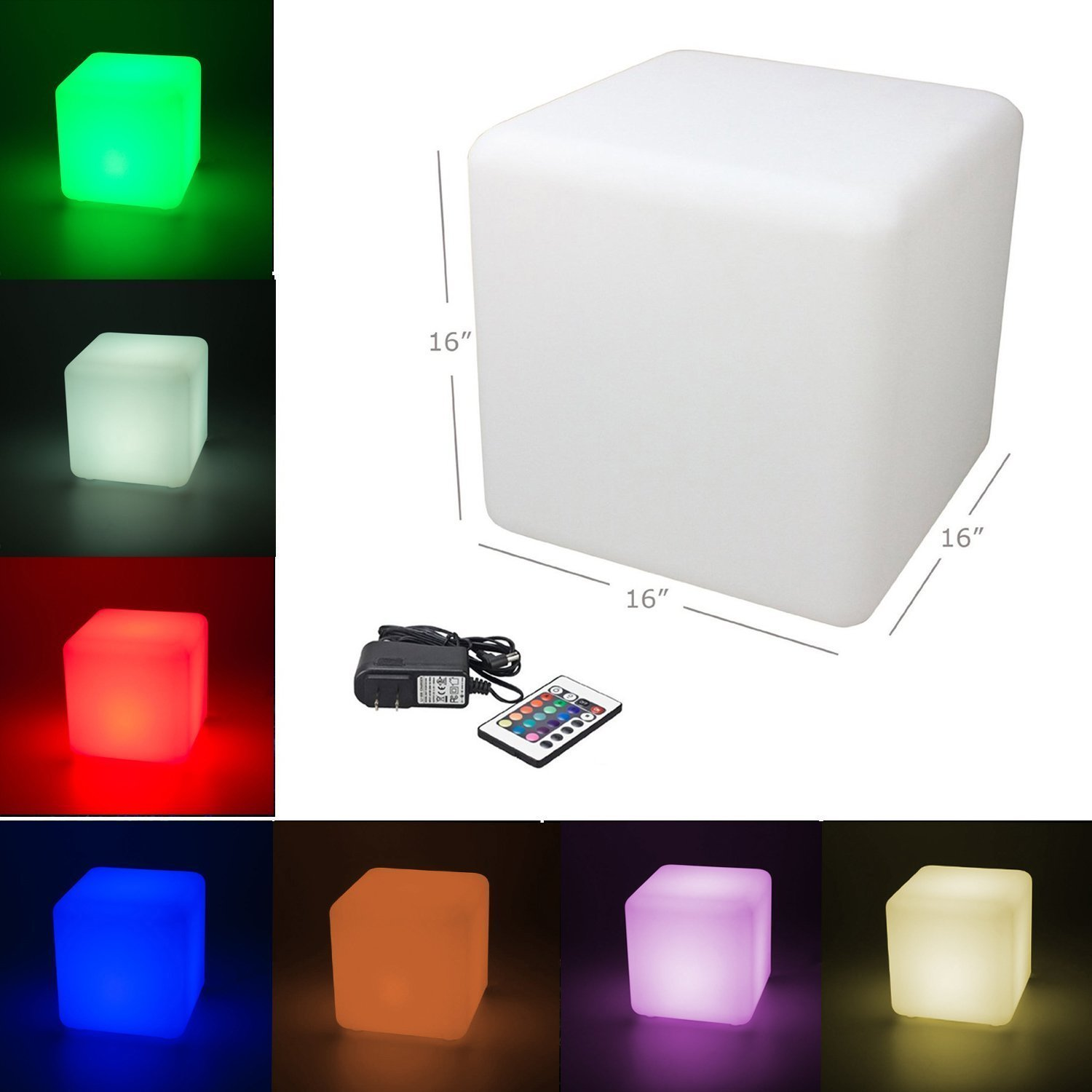 ''MODINI'' 16-inch Large Rechargeable RGB Decorative LED Lighting - Cube Stool with Remote Control Color Changing Side Table Home Bedroom Patio Pool Party Mood Lamp Night Light Romantic Light.