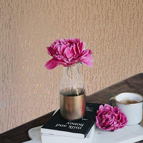 15m European Slavyanski modern vinyl wallpaper rose gold metallic pink plain faux rustic plaster coverings textured pattern 50 feet roll wallcoverings wall paper decal decor textures washable ()
