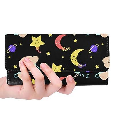 d931cae06932 Silly Meow Cute Clouds Moon Planets Stars Custom Women's Wallet Women's  Trifold Long Clutch Wallets Great Gift