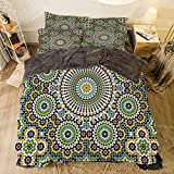 Eastern King Bed Vs King Flannel Duvet Cover Set 4 pieces Bedlinen Winter Holiday Pattern for bed width 6.6ft Pattern by,Arabesque,Ethnic Moroccan Middle Eastern Oriental Traditional Vintage Islamic Mosaic Motif,Multicolor
