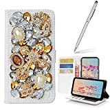 Yaheeda Galaxy S7 Case Stylus, [Stand Feature] Butterfly Wallet Premium [Glitter Luxury] Leather Flip Cover [Card Slots] Samsung Galaxy S7 (2016 Release)