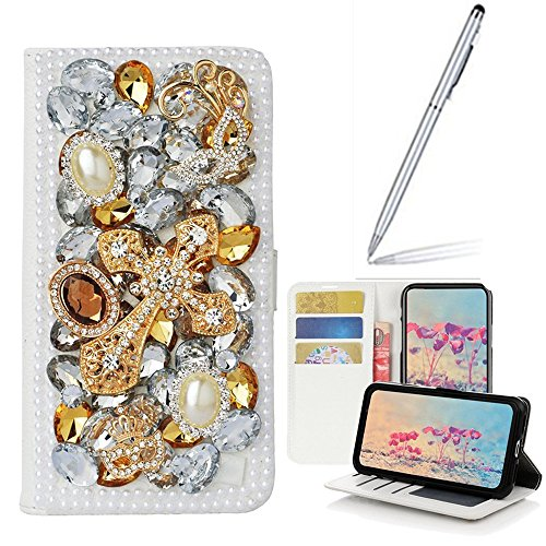 Yaheeda LG Stylo 4 Case,LG Stylo 4 Plus,Stylus 4 Case with Stylus, [Stand Feature] Butterfly Wallet Case Premium [Glitter Luxury] Leather Flip Cover [Card Slots] for LG Stylo 4 by Yaheeda