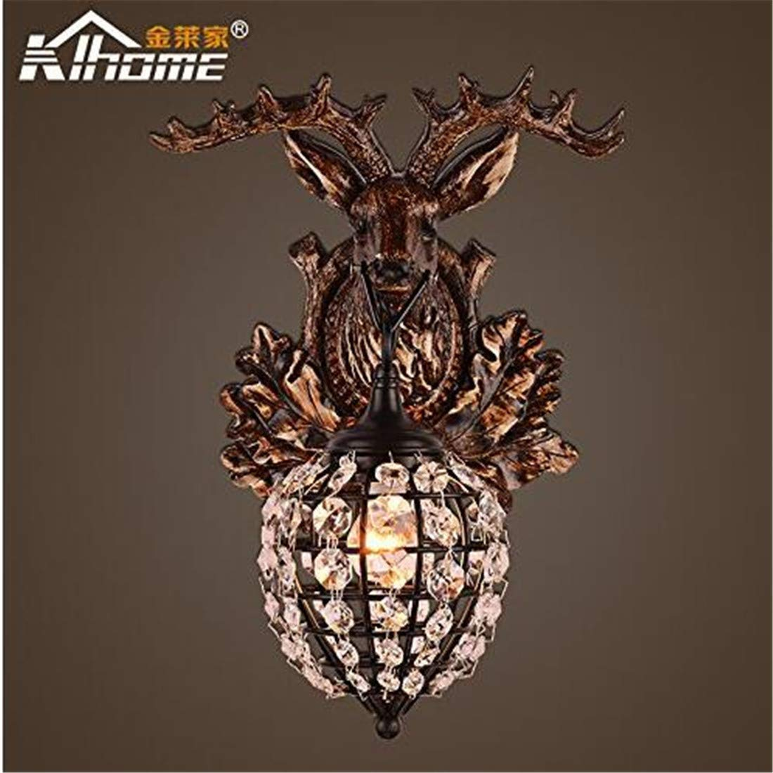 Vintage Chandelierwall Light Sconce E26 27 Base Antler Wall Lights Personalized Coffee Shop Bar And Restaurant Resin Crystal Antlers Wall Lamps, Antler Crystal Wall Lamp