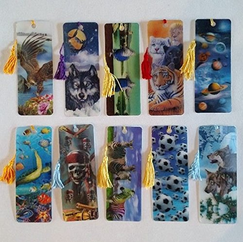 3 D Realistic Lenticular Bookmarks with Tassel Assorted 10 Pack]()
