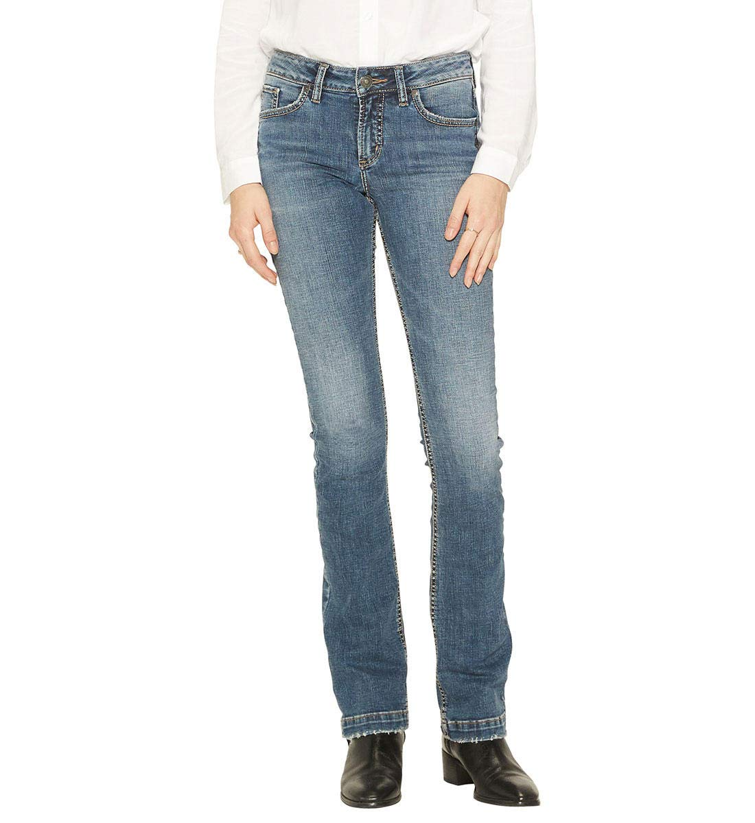 Silver Jeans Co. Women's Elyse Relaxed Fit Mid Rise Slim Bootcut Jeans Silver Jeans Juniors L03601SSX415