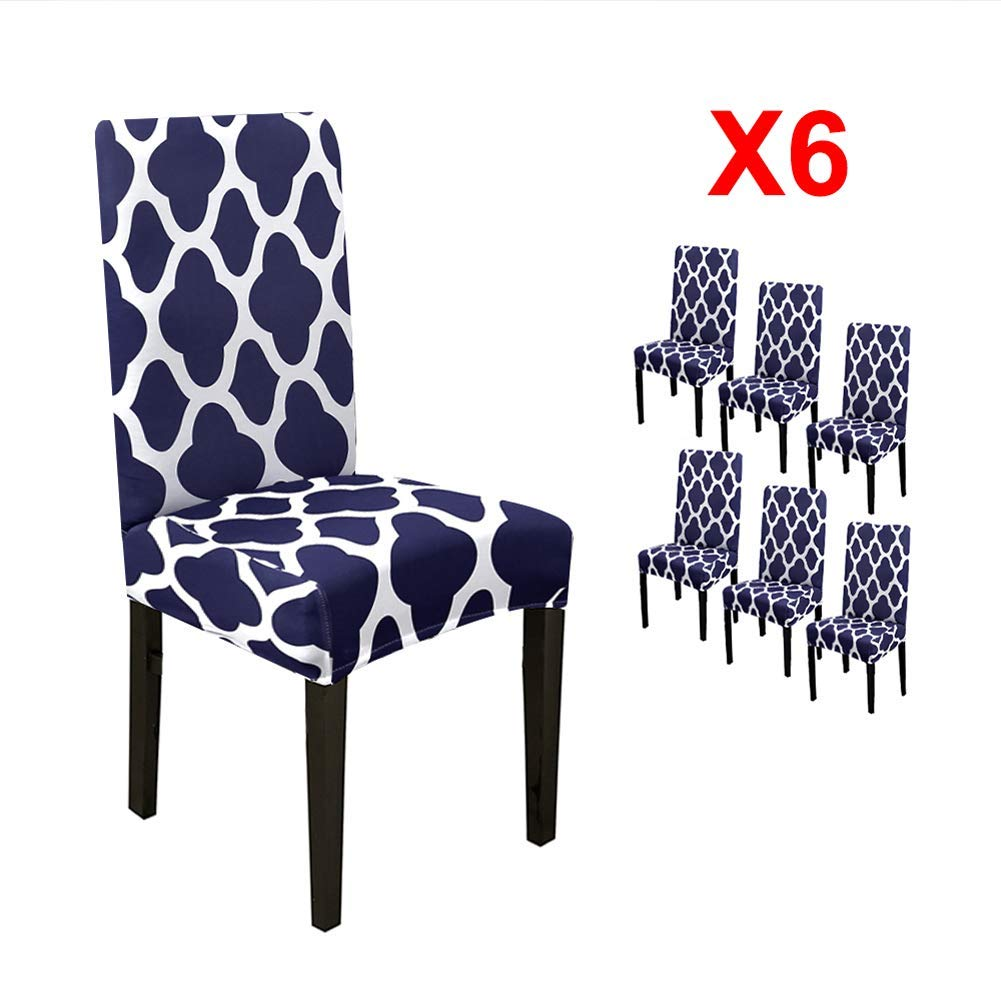 YIMEIS Stretch Geometric Printed Dining Chair Protector Cover, Removable Washable Short Slipcover for Hotel,Dining Room,Ceremony,Banquet,Wedding (Pack of 6, Navy)
