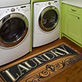 "HiiARug Laundry Room Rug and Mats Non Slip Rubber Backing Mat Laundry Room Runner Rug Waterproof Floor Mat(20""x 48…"