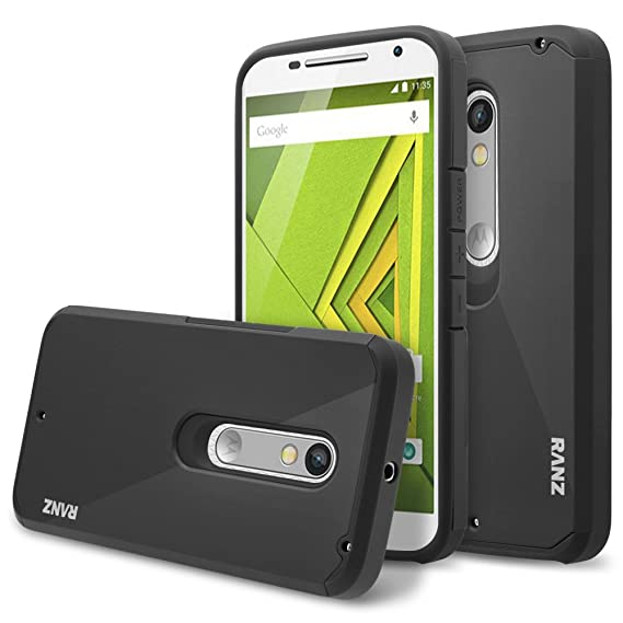 uk availability eb531 3d2a9 Moto X Pure Edition Case, RANZ Classic Black Hard Impact Dual Layer  Shockproof Bumper Case For Motorola Moto X Style / Pure Edition (XT1575)