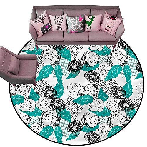 Non-Slip Bath Hotel Mats Floral,Modern Roses Sketch Art Diameter 72