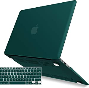 IBENZER MacBook Air 13 Inch Case A1466 A1369, Hard Shell Case with Keyboard Cover for Apple Mac Air 13 Old Version 2017 2016 2015 2014 2013 2012 2011 2010,Quezhal Green, A13QUGN+1