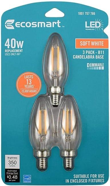 Ecosmart 40 Watt Equivalent B11 E12 Base Dimmable Clear Filament Vintage Style Led Light Bulb Soft White 3 Pack Amazon Com
