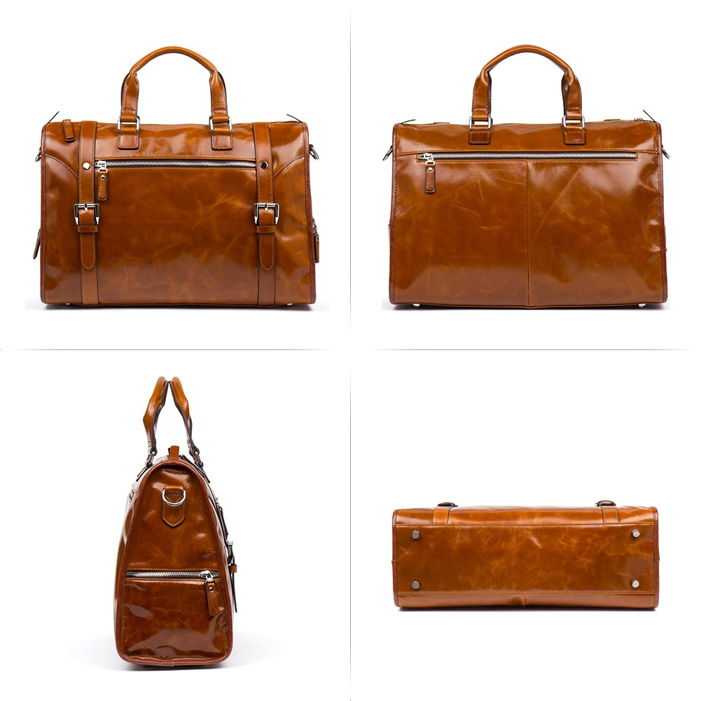 MANTOBRUCE Leather Briefcase Weekender Overnight Duffel Bag Gym Sports Luggage Bags for Men Women by MANTOBRUCE (Image #3)