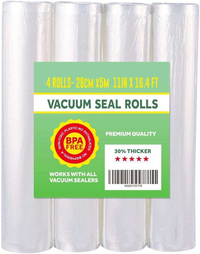 "4 Pack Vacuum Sealer Bag Rolls 11"" x 16.4' Vacuum Bags Works with all Vacuum Sealer Machine Sous Vide BPA Free for Food Saver Storage Food bag"