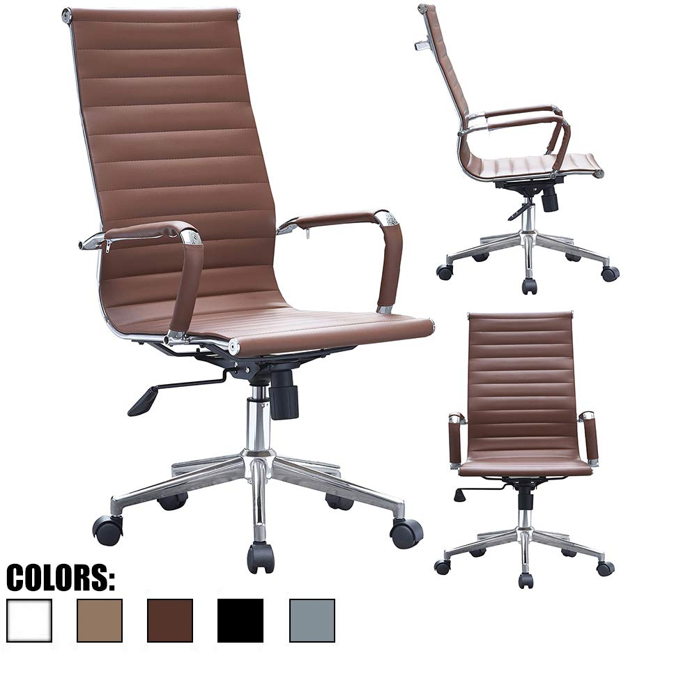 2xhome Mid Century Modern Contemporary Brown Desk Ergonomic Office Chair with Arms Arm Rest Wheels Modern High Back Tall Robbed PU Leather Swivel Tilt Adjustable Boss Executive Manager Home Work Task