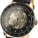 ESS Mens Black Leather Automatic Mechanical Watch Skeleton Swiss Design Man WM096