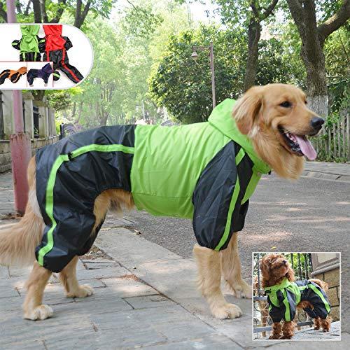 lovelonglong Pet Apparel Large Dog Clothing Raincoat Pet Clothes Rain Coat For Big Large Dogs Red Green Waterproof (L-L, Green)