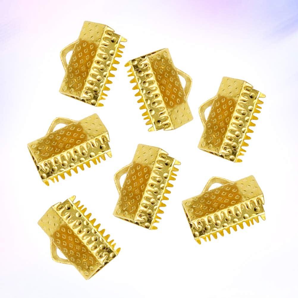 SUPVOX 100 st/ücke Metallband Enden Verschlussklammern Strukturierte Schnur Enden Schnallen Crimp End Clamps f/ür DIY Handwerk Schmuck Machen Goldene 2 cm