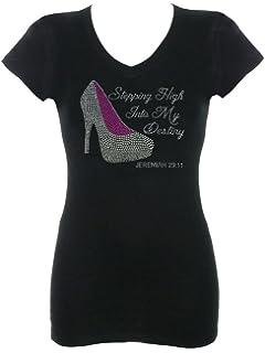 e75e87d1a DivaDesigns Stepping High Into My Destiny Rhinestone Bling T-Shirts Black