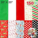 Joiedomi 150 Sheets Christmas Tissue Paper Assorted Design; Easy and Fast Gift Wrapping Accessory Perfect for Christmas Gift Boxes, Xmas Gift Wrapping Bags and Wine Bottles