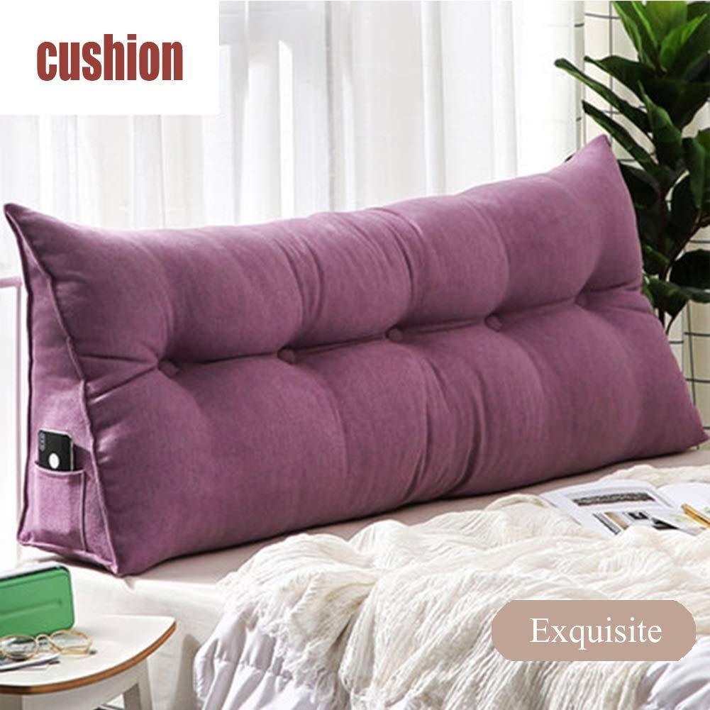 Lu Perle Baumwolle gefüllt Keil dreieckig große Nachtkissen weiche Kopfstütze lesen Kristall Samt Kissen (Farbe   Purple, größe   LWH 200  20  50cm)