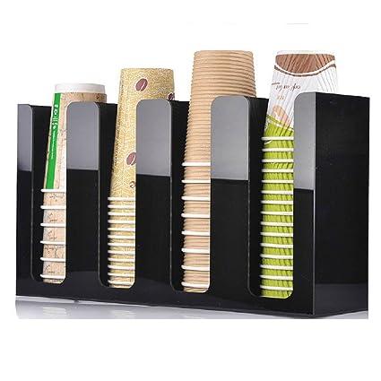 WERSHOW Soporte Organizador acrílico para tazas de café/Dispensador de vaso de café y vasos