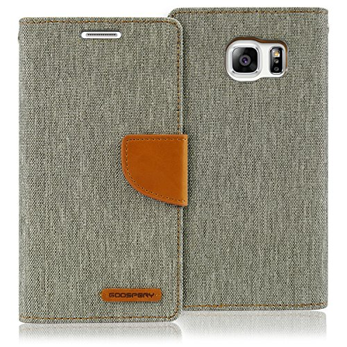 Galaxy S6 Edge Case, [Drop Protection] GOOSPERY Canvas Diary [Denim Material] Wallet Case [ID Credit Card and Cash Slots] with Stand Flip Cover for Samsung Galaxy S6 Edge (Gray) S6E-CAN-Gry