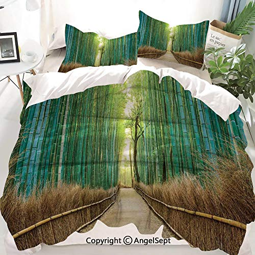 Bamboo Forest in Japan Decor Duvet Cover Set Twin Size,Panoramic View of Historic Landscape Park,Decorative 3 Piece Bedding Set with 2 Pillow Shams