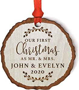 Andaz Press Personalized Wedding Real Wood Rustic Farmhouse Christmas Ornament, Engraved Wood Slab, Our First Christmas as Mr. & Mrs, Evelyn & John 2020, Rustic Laurel Leaves, 1-Pack, Custom Name