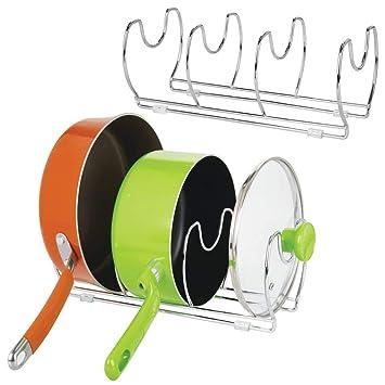 mDesign Juego de 2 soportes para sartenes, ollas y tapas – Organizador de tapas de