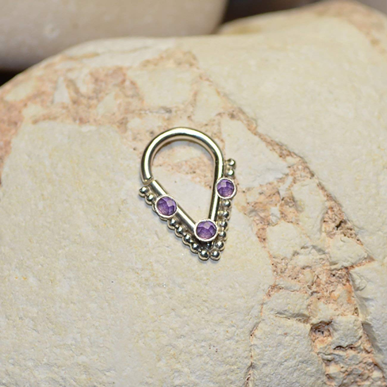 Amazon Com 2mm Amethyst Septum Ring Silver Septum Piercing