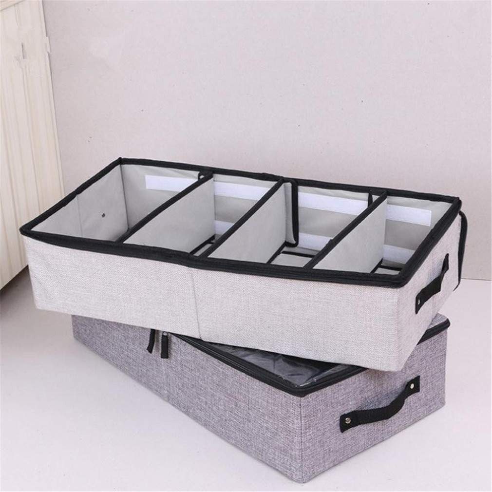 VADOLY Foldable Shoe Box Wardrobe Closet Organizer for Sock Bra Underwear Linen Cotton Storage Bag Under Bed Organizer by VADOLY (Image #4)